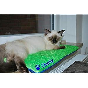 Fensterbankkissen für Katzen mit Name, Sitzplatz, Auflage für Fensterbank