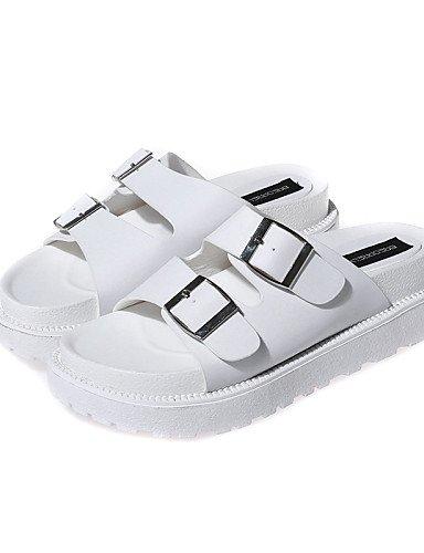LFNLYX Chaussures Femme-Décontracté-Noir / Blanc-Talon Plat-Creepers / Gladiateur / Bout Arrondi / Bout Ouvert-Sandales-Synthétique White