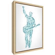 Feel Good Art elegante y moderno, sólido Fronted y Natural enmarcado pared lienzo en Quirky cuadro macho guitarrista diseño tonos, 44x 34x 3cm (tamaño mediano), madera, azul, 34x 24x 3cm