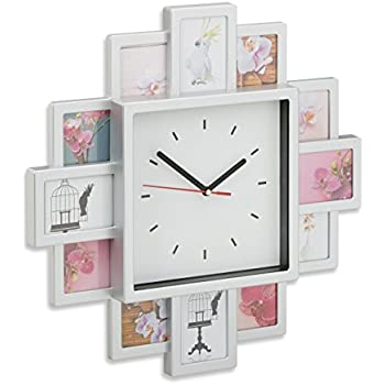 35 x 35 x 4 cm argent/é Relaxdays Horloge murale cadre photo /à compl/éter avec vos propres photos HxlxP