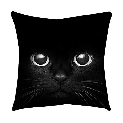 Epigeon Cute Black Cat Face mit schwarzen Augen Baumwolle Leinen Platz Kissenbezug Home Sofa Sessel Schlafzimmer dekorativ -