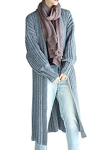 ELLAZHU Femme Pullover Décontracté Douce Col-V Manche Longue Tricot Cardigan GA538 Grey