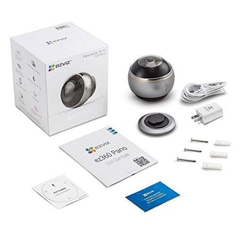 EZVIZ ez360 Pano(Mini Pano), 3 Megapixel WLAN-Fischaugen-Kamera mit Nachtsicht, 360-Grad-/Fischaugen-Panoramaüberwachung, 2/4 Splitscreen, Mikrofon und Lautsprecher, 2.4 Ghz und 5 GHz Dualband-WLAN - 4