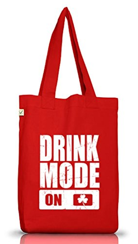 Irland St. Patrick's Day Jutebeutel Stoffbeutel Earth Positive Drink Mode On Red