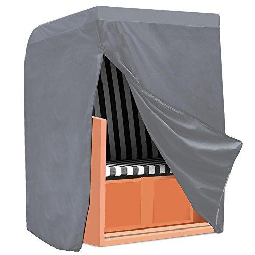 Yaheetech Strandkorb Schutzhülle Abdeckhaube mit Verschluss Polyester Oxford Gewebe, Grau Farbe 130 x 170 x 100cm
