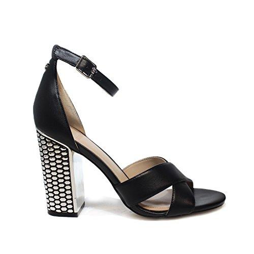 Guess FLRNE1LEA03 Sandalo Donna in Pelle Nera Black, 36 MainApps
