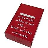 International Connection Zigarettenetui aus Aluminium rot mit Ihrer persönlichen Gravur Personalisiertes Geschenk