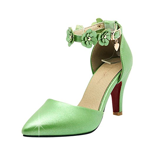Mee Shoes Damen süß Ankle strap Schnalle high heels Pumps Grün