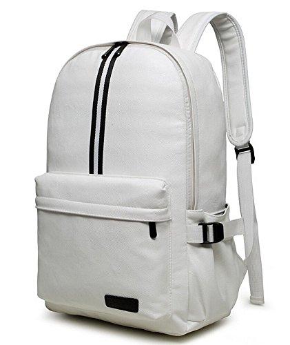 Mode PU Leder Damen Tasche Schultasche Rucksack für Campus Daypack Schulranzen Mädchen Weiß