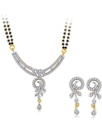 Spargz Designer Daily Wear Brass Metal Gold CZ Stone Studded Double Line Beaded Mangalsutra Set For Women AIMS...