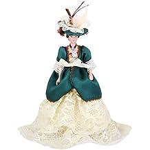 Dollhouse Bambole Di Porcellana In Miniatura Donna Vittoriana In Abito Verde Con Supporto