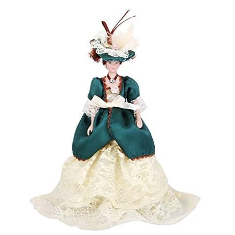 Poupées Ancienne en Porcelaine Miniatures Madame Victorienne Dans Robe Verte Avec Support