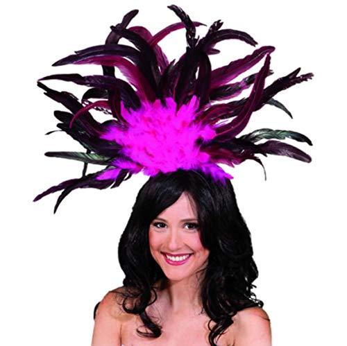 Haarreif samba copricapo di piume accessorio costume rosa di carnevale danza rio