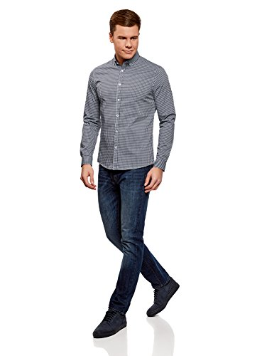 oodji Ultra Herren Hemd Extra Slim Fit mit Feinem Karomuster Weiß (1079C)