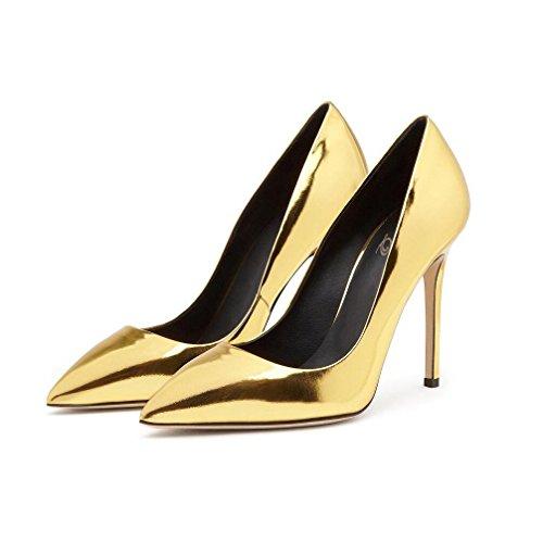 WYWQ Donna Specchio 2018 New Fashion Donna Scarpe Décolleté Tacchi Alti di grandi dimensioni Oro Argento Rosso Nero Vernice Scarpe singole Bocca superficiale PU40414243444546 gold