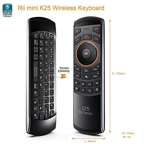 Rii Mini i25 (layout Español) - Mini Wireless teclado con ratón giroscópico y control remoto infrarrojos para Smart TV, Mini PC Android, PlayStation, Xbox, HTPC,IPTV, PC, Raspberry Pi,kodi,XBMC