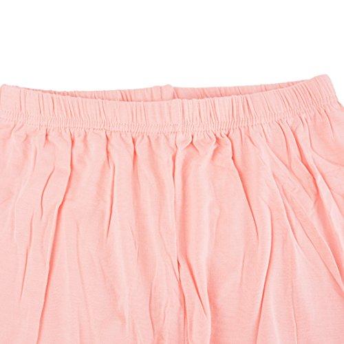 Vertvie Femme 3/4 Longueur Leggings Modal avec Bordure Dentelle Pantalon Court Doux Extensible Taille Unique Rose Bownot