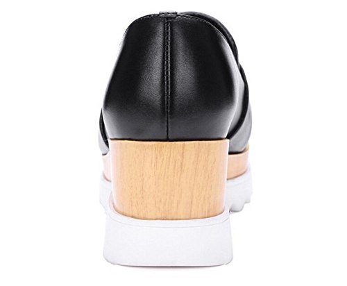 Beauqueen Plantform Pompe mocassini Estate Almond delle donne della punta a forma di tacco grosso femminili Scarpe casuali del partito Bianco Nero Europa formato 34-39 Black