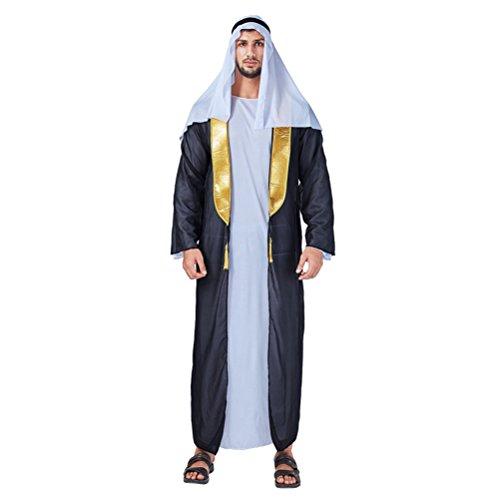 Zhhlinyuan [Halloween Kostüm Herren Fashion Maskenspiel/Halloween Costume für Erwachsener Mens Dubai Arabischer Mittlerer Osten Robe Urlaub Cosplay Partei Outfit, Multi-Style (I-K)