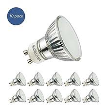 Sanlumia Lampadine LED GU10 5W, Equivalenti a Lampadine Alogene da 50 Watt, 400lm, Luce Bianco Freddo 6400K, Angolo del Fascio di 120 Gradi, Non-Dimmerabile, Confezione da 10