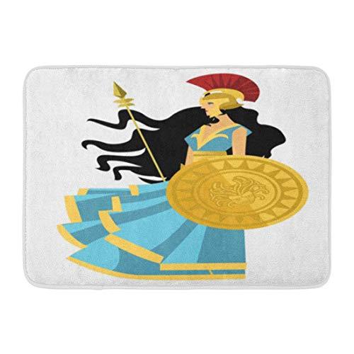LIS HOME Bad Matte Architektur weiße Zeichnung Palas Athena Minerva griechische Mythologie Göttin antiken Athen Badezimmer Dekor Teppich (Athena Göttin Party)