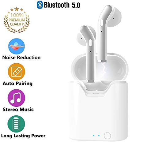 Bluetooth 5.0 Earbuds Wireless Headsets, 2019 New Version Wireless Earbuds with Microphone, in-ear Earpiece Automatic Pairing Waterproof HIFI Stereo Earphones Compatible with All Bluetooth Devices