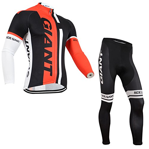 Strgao 2016 Herren Winter Radtrikots Pro Rennen Team giant Thermal Radfahren Langarm Radhose MTB Radbekleidung Radfahren Anzug cycling jersey pants set suit (Pro Thermal Tight)