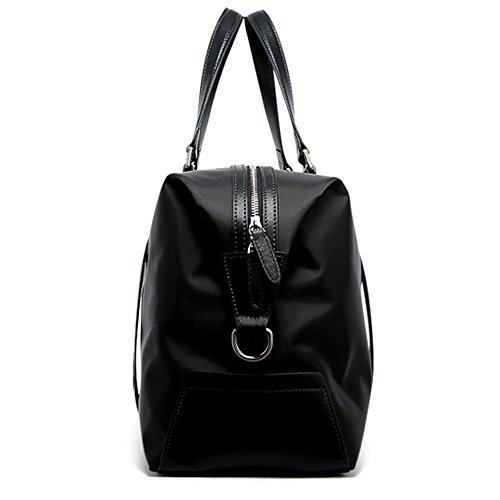 BOPAI Umhängetasche Unisex Schultertasche Handtasche Reisetasche Wasserdicht Handgepäck Bordgepäck Reisegepäck Leder und Nylon Schwarz schwarz-XL