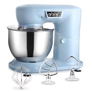 AIFEEL-1000W-Kchenmaschine-aus-Kunststoff-mit-4L-SUS-Schssel-Transparentem-Spritzschutz-Flachem-Rhrbesen-Knethaken-und-Ballonschneebesen-3-Geschwindigkeiten-mit-LED-Anzeige-Hellblau