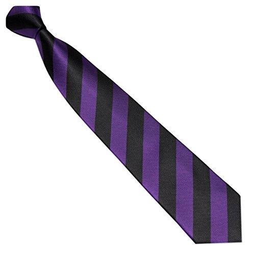 Schmale Krawatte 7cm Streifen College Design Schwarz Violett gestreift - Binder Gewebte Microfaser Seiden-Optik - Herrenkrawatte z Anzug - Herren Schlips (Krawatte Gewebte Seide Cambridge)