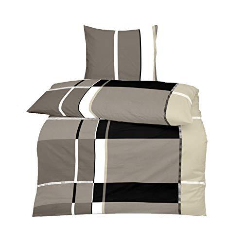 Superbetten-321 TOP Bettwäsche Garnitur in vielen Qualitäten und Größen mit RV in über 30 Verschiedenen Mustern (Grey Boxer, 200x220cm Baumwolle 3tlg)