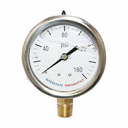 Interstate Pneumatics G7022-160 160 PSI 2-1/2 Inch Dial 1/4 Inch NPT Bottom Mount Oil Filled Pressure Gauge by Interstate Pneumatics -