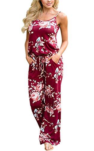 ECOWISH Jumpsuit Damen Elegant Sommer Hosenanzug Blumenmuster Ärmellos Overall Romper Winerot XL