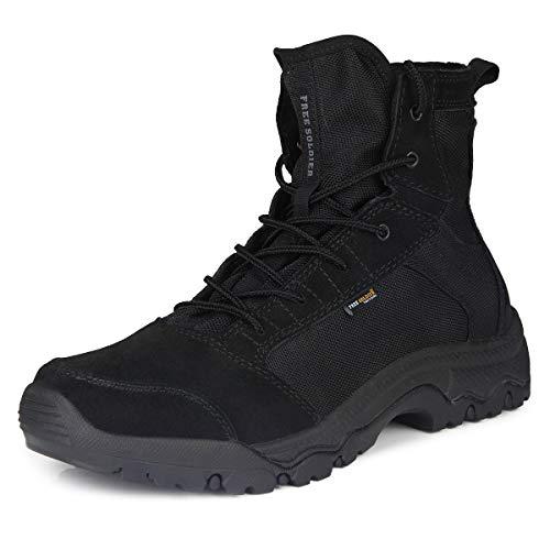 FREE SOLDIER Herren Wanderstiefel leichte Trekkingstiefel Atmungsaktive Military Boots US Army Schuhe für Outdoor Camping Wandern Bergsteigen Wüsten Offroad(42 EU, Schwarz) Army Herren-leder
