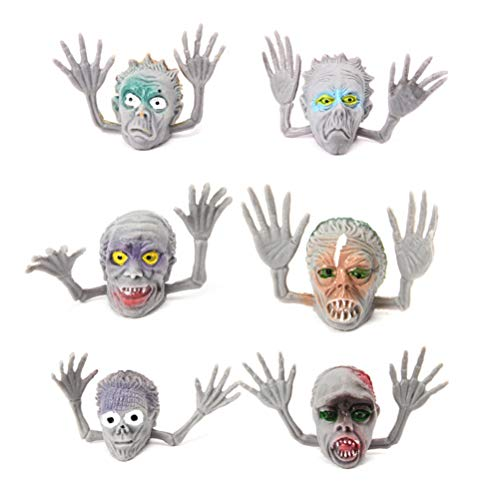 Toyvian Halloween Fingerpuppen Lustige Simulation Zombie Finger Requisiten Halloween Hexe Interaktive Spielzeug Requisiten 6 Stück (Graue Skelette)
