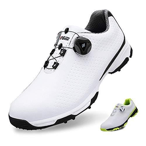 SHENMINJ Scarpe da Golf da Uomo,Calzature Sportive Impermeabili Manopole Fibbia da Ginnastica Traspirante Antiscivolo da Uomo,Nero,41