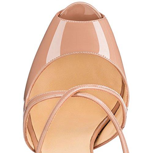 Damenschuhe Peep Toe Sandalen Criss Cross High Heels Stiletto Schnalle mit Plateau Lack Beige