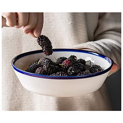 YYF Bol en céramique blanc à côté bleu - Petite assiette à soupe Assiette à soupe Assiette à soupe Coupe à salade de fruits Bol à dessert Bol 4-7.5 pouces (Taille : 18.8cm)