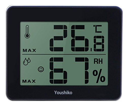 Youshiko Digital Thermometer Hygrometer / Humidity Temperature Monitor Meter (2 in 1) Large LCD Screen