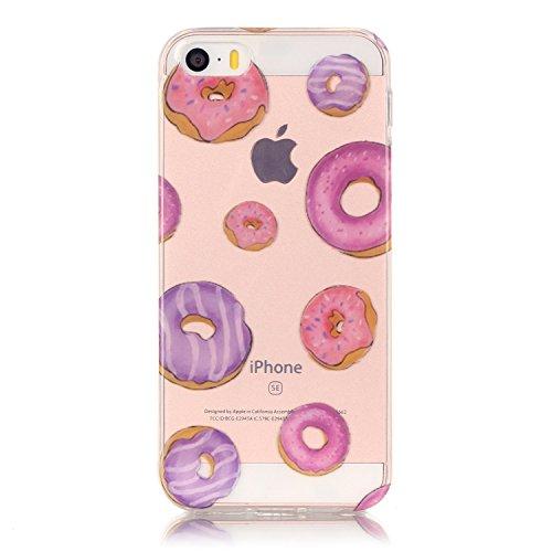 iphone 5s hülle silikon, LuckyW TPU Handyhülle für Apple iPhone 5/5S/SE Soft Silikon Tasche Transparent Schale Clear Klar Hanytasche Durchsichtig Rückschale Ultra Slim Thin Dünne Schutzhülle Weiche Fl Donut