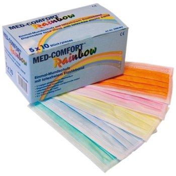 Med-Comfort Höga Rainbow, Einmalmundschutz 5-farbig, 3-lagig, mit latexfreiem Elastikband, 50 Stück