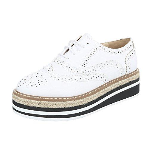 Ital-Design Schnürer Damen-Schuhe Oxford Schnürer Schnürsenkel Halbschuhe Weiß, Gr 36, 9431-1-
