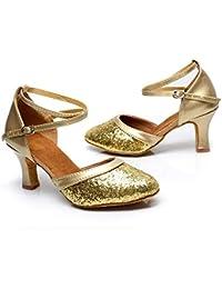 HCCY Zapatos de Baile de salón de Baile con Fondo Blando para Mujeres de tacón  Alto para Mujeres Zapatos de Baile Latino con Lentejuelas… 37f106ccb413