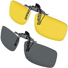 Gafas de sol con clip, Gritin [2 unidades/día + noche visión] Gafas de sol polarizadas UV400 para hombre y mujer, ajuste cómodo y seguro sobre gafas de sol ...