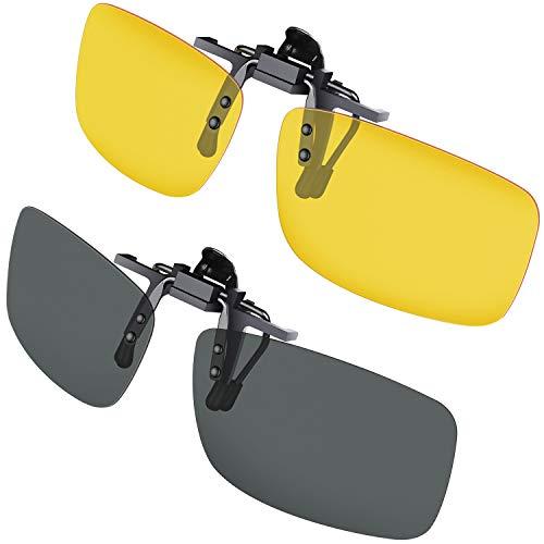 Gritin Clip su Occhiali da Sole 2 Pezzi Day e Night Vision Occhiali da Sole Lenti Polarizzate da Uomo/Donna UV400 Flip up Comodo e Sicuro Ideale per