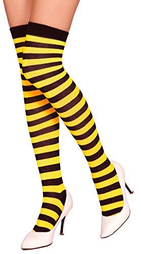 Krautwear® Damen Gestreifte Overknees Strümpfe Ringelstrümpfe Karneval Fasching Cosplay 80er Jahre (gelb/schwarz)