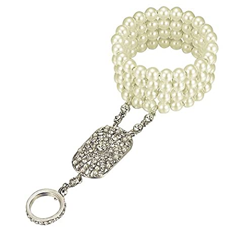 Contever® The Great Gatsby Fleur Cristal Autrichien Perle Artificielle Bracelet Elastique Bague Parures Elégant