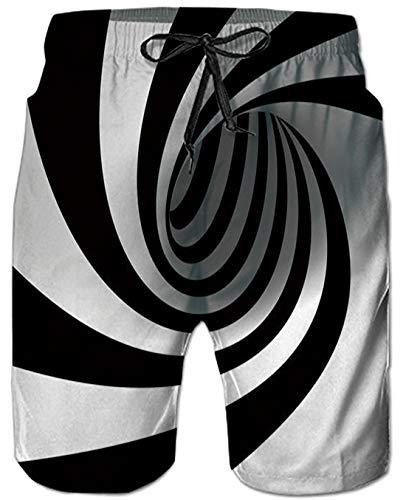 Freiheit Schwarzes T-shirt (Herren Sommer Badehosen Badeshorts 3D Print Schwarz und weiß Wirbel Sommer Strand Shorts Surfen Badehose Schnell Trocknend Strand Shorts mit Taschen Surfen Schwimmen Einzigartige Digital Bademode)