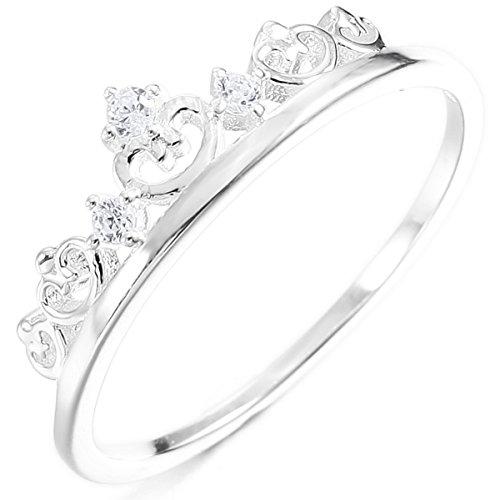 MunkiMix Sterling Silber Band Ring CZ Zirkon Zirkonia Silber Ton Krone Valentine Lieben Paar Paare Hochzeit Verlobung Größe 54 (17.2) Damen