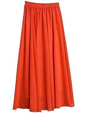 Mujer Maxi Larga Cintura Elástica Falda Bohemio Dobladillo Grande Gasa Faldas Plisadas De Playa